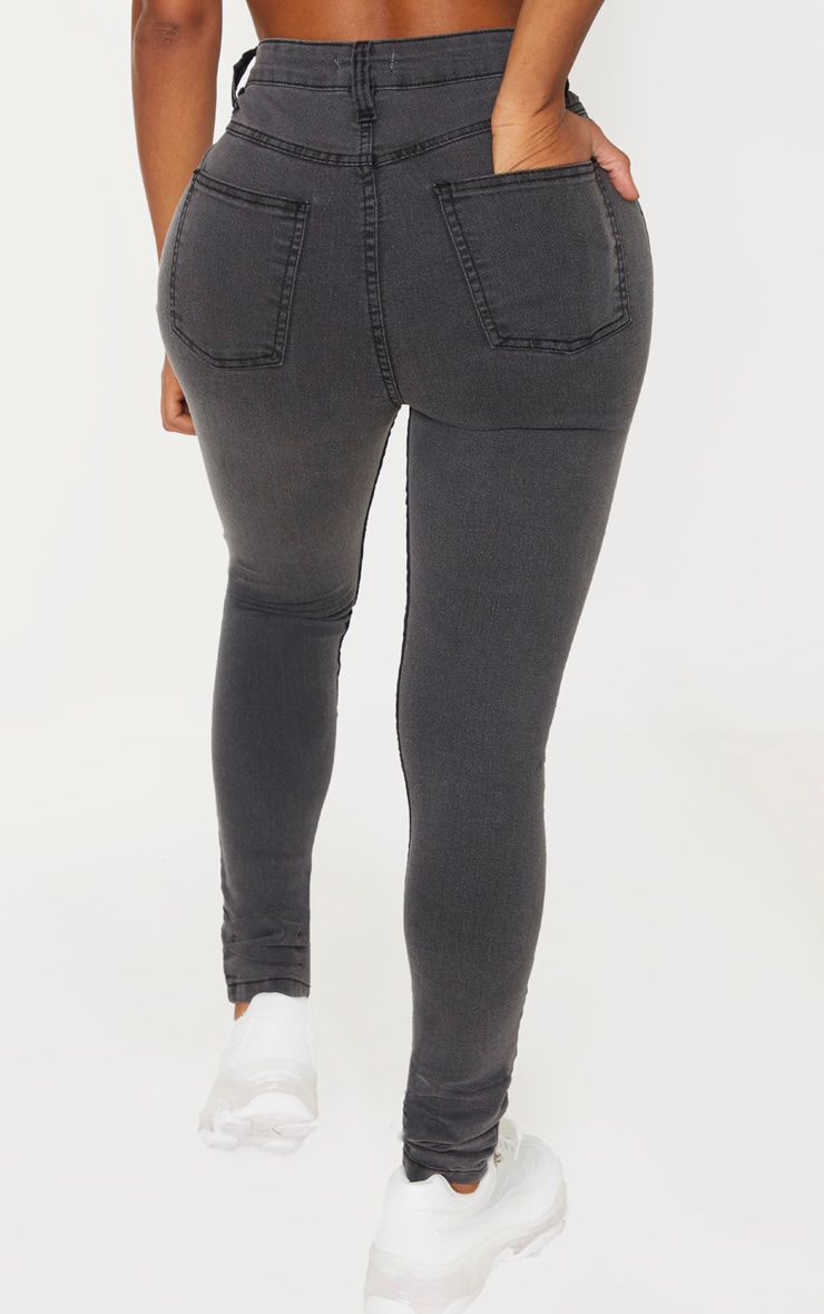 Shape Charcoal High Waist Super Stretch Skinny Jeans 4