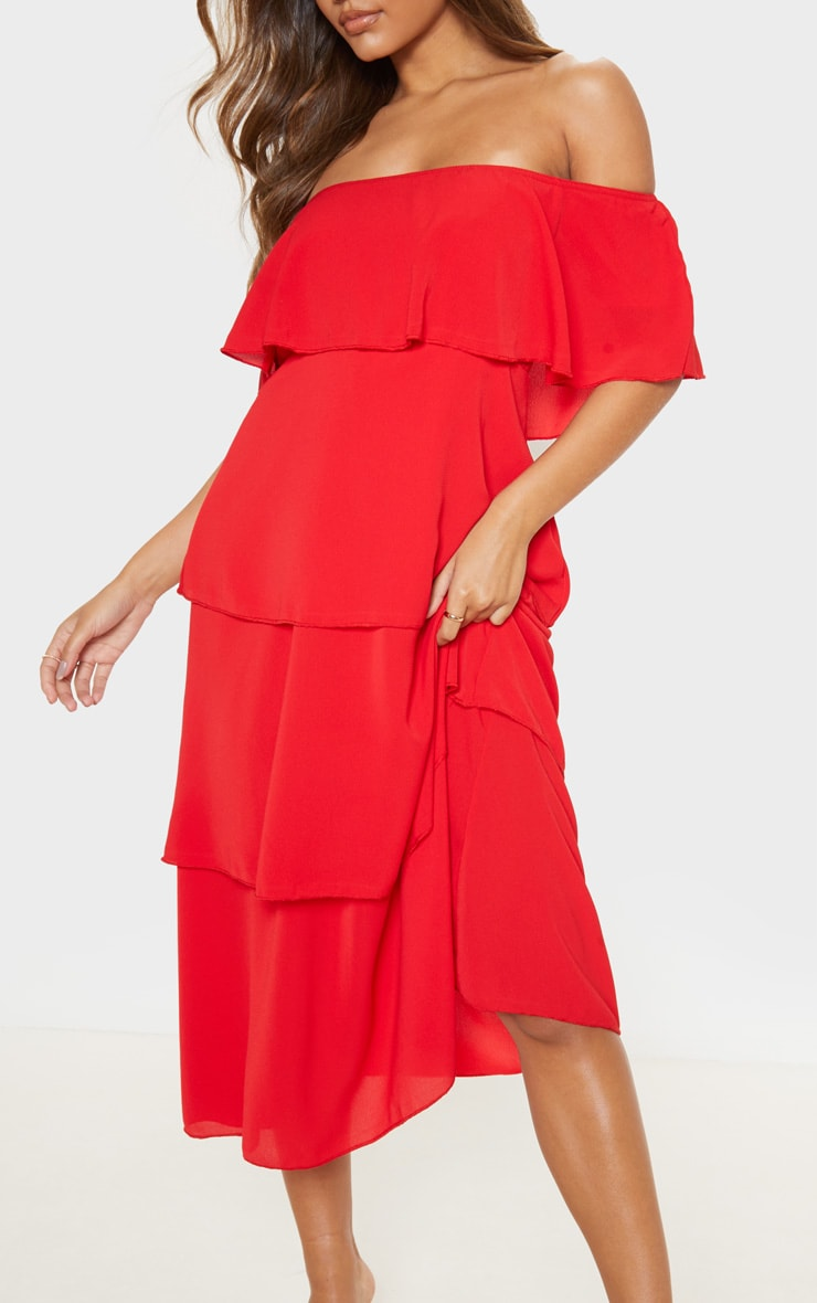 Red Tiered Frill Detail Midi Dress 5