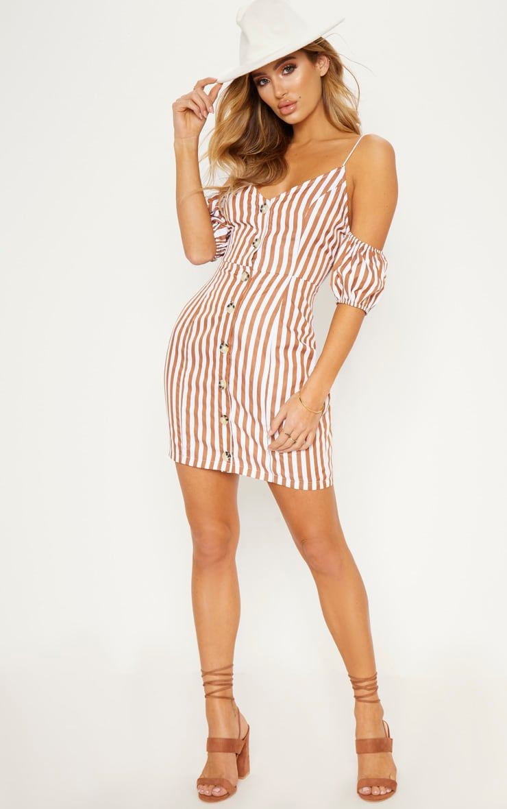 Brown Stripe Print Button Up Puff Sleeve Bodycon Dress 5
