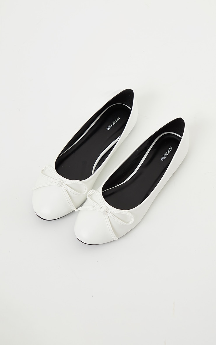 White Wide Fit PU Round Toe Ballet Shoes 4