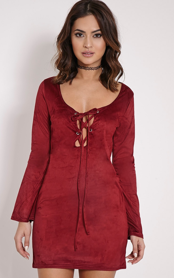 Heidi Berry Lace Up Suede Shift Dress 3
