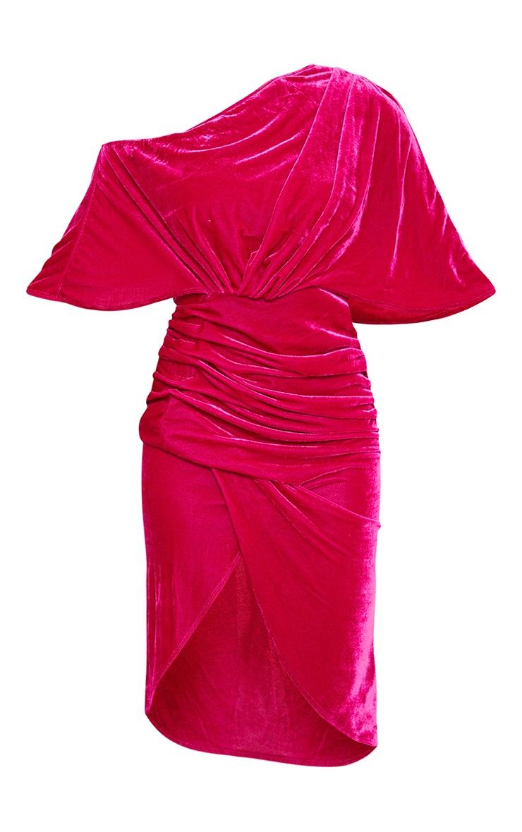 Hot Pink Velvet Off Shoulder Drape Midi Dress 5