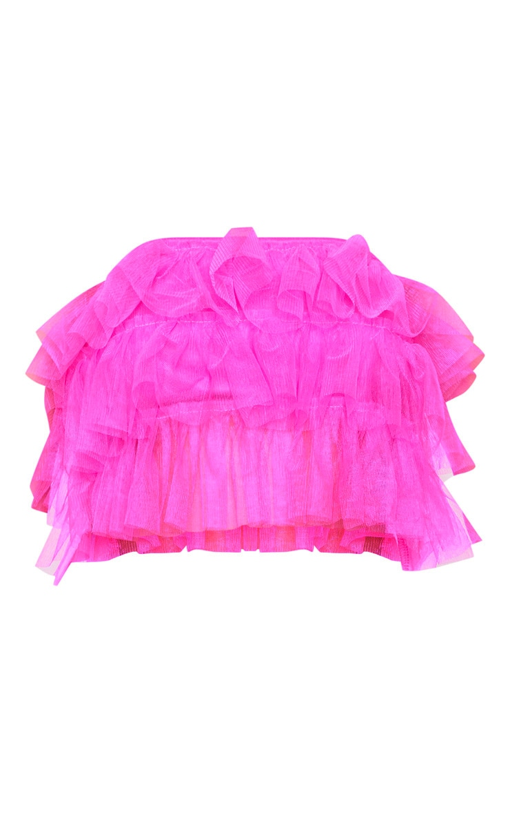 Bright Pink Ruffle Bandeau Crop Top 4