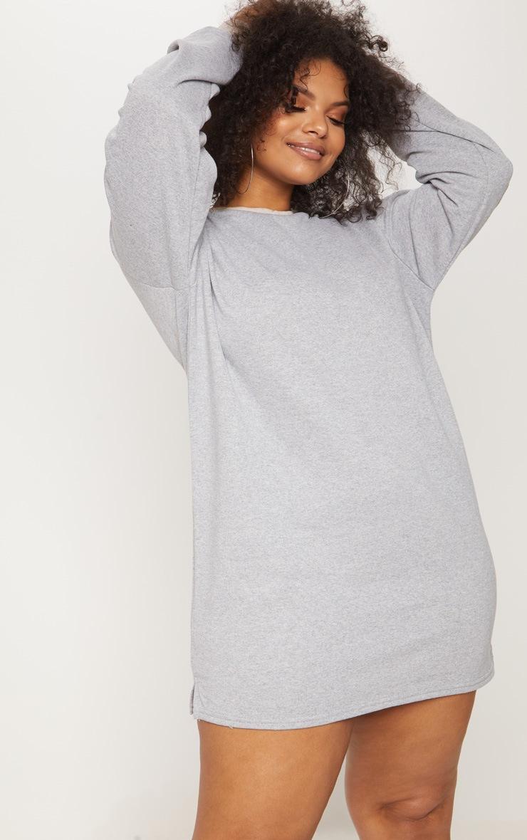 Plus Grey Marl Oversized Sweater Dress 4