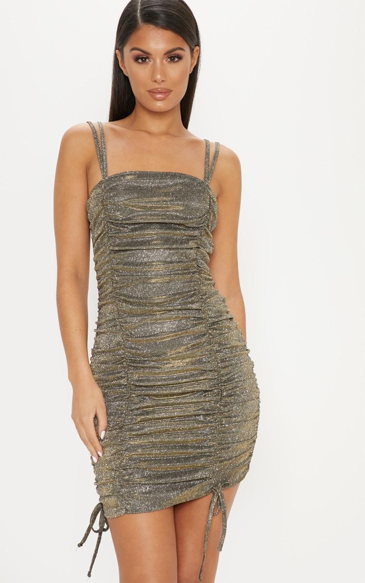 Gold Glitter Metallic Ruched Bodycon Dress 1