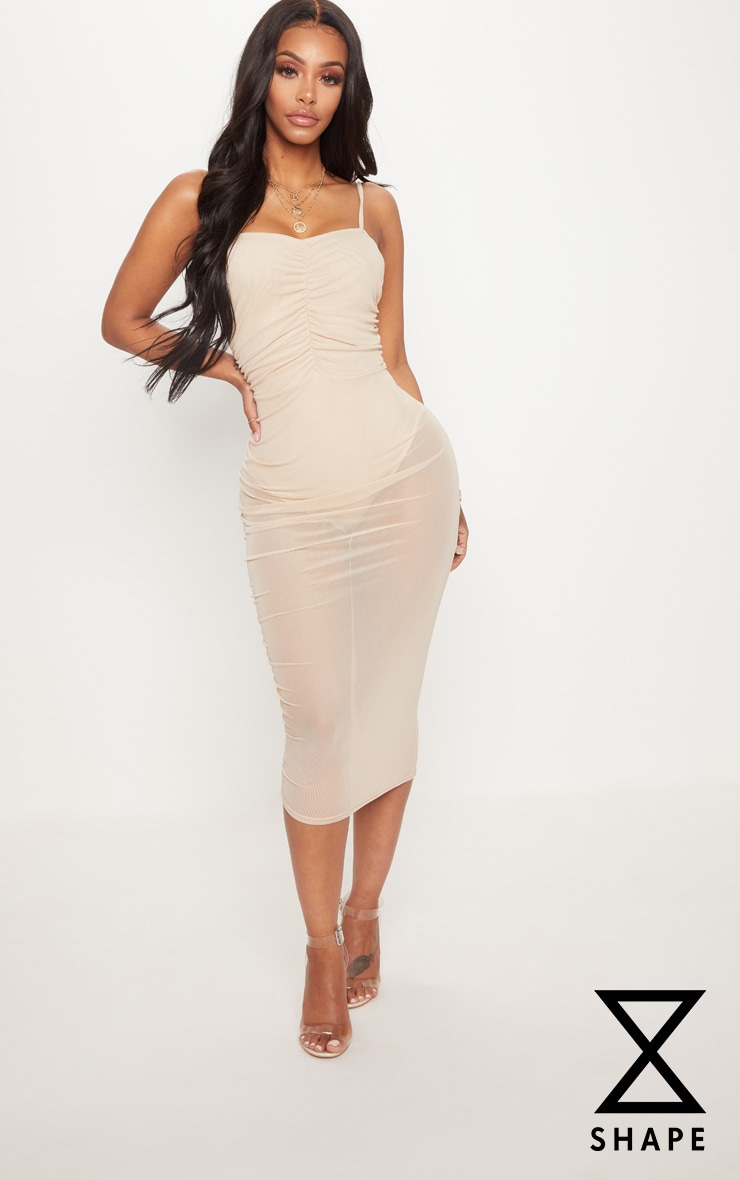 Shape Nude Mesh Ruched Strappy Midi Dress