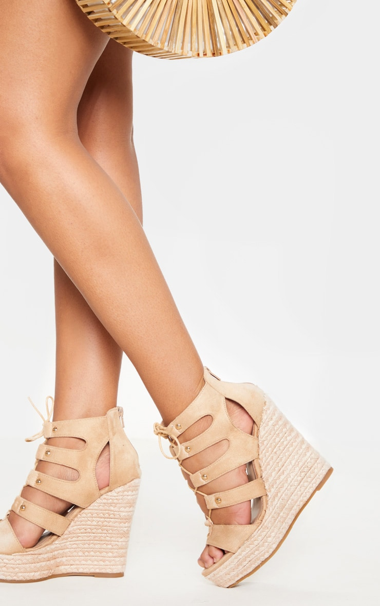 Louisella Nude Lace Up Wedges 1