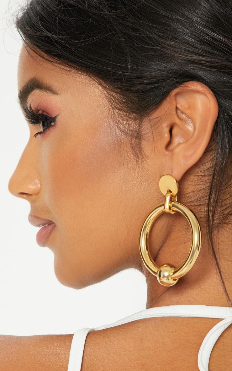 Gold Ball Hoop Earrings 2