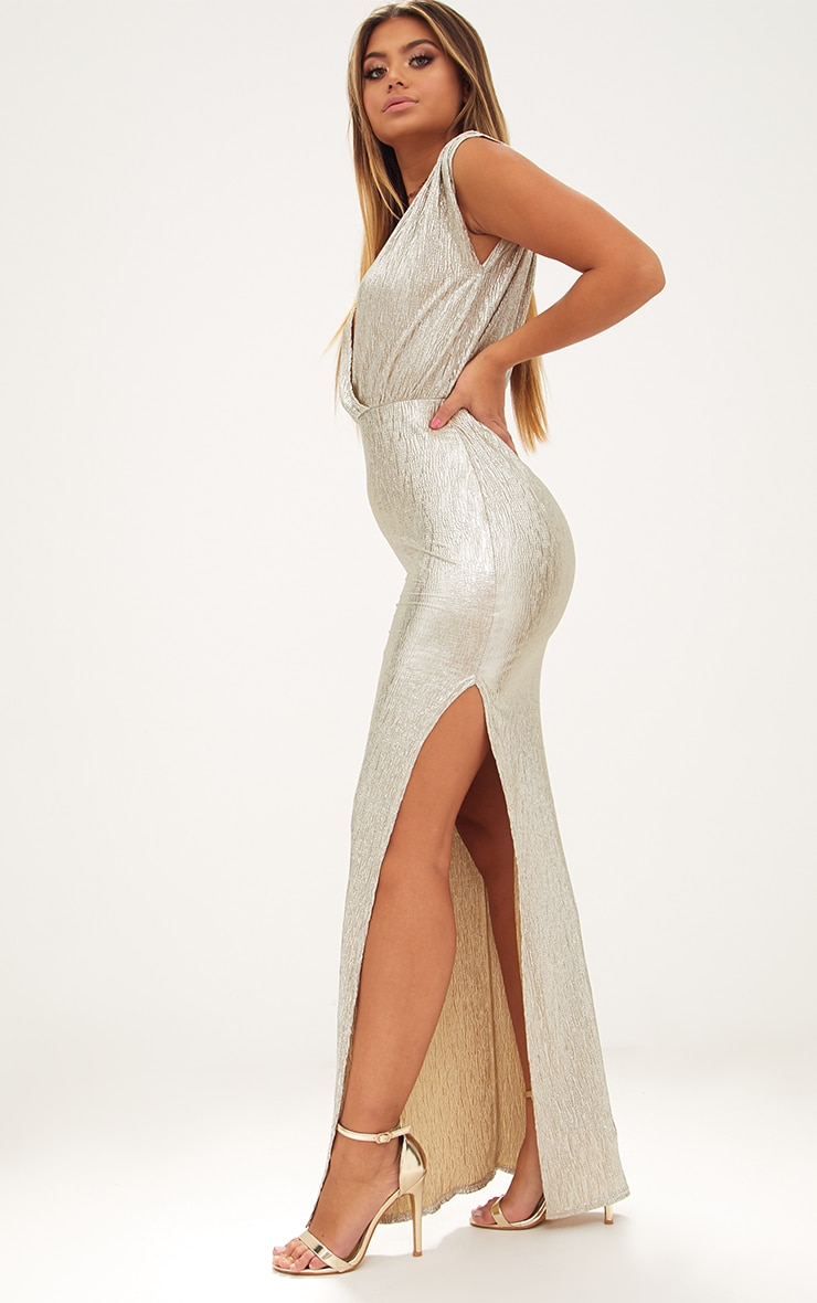 Gold Pleated Foil Extreme Plunge Maxi Dress 4