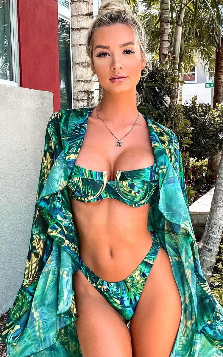 Green Tropical Extreme Frill Kimono 1