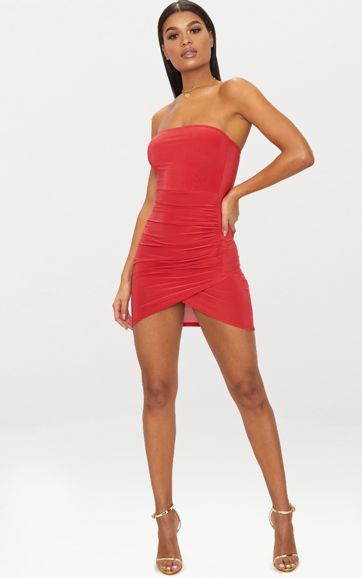 Red Bandeau Wrap Bodycon Dress 4