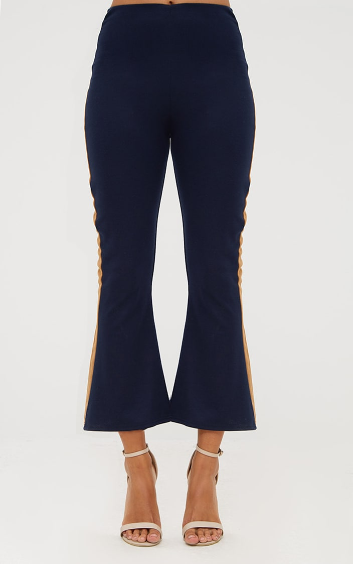 Navy Track Stripe Kick Flare Trousers 2