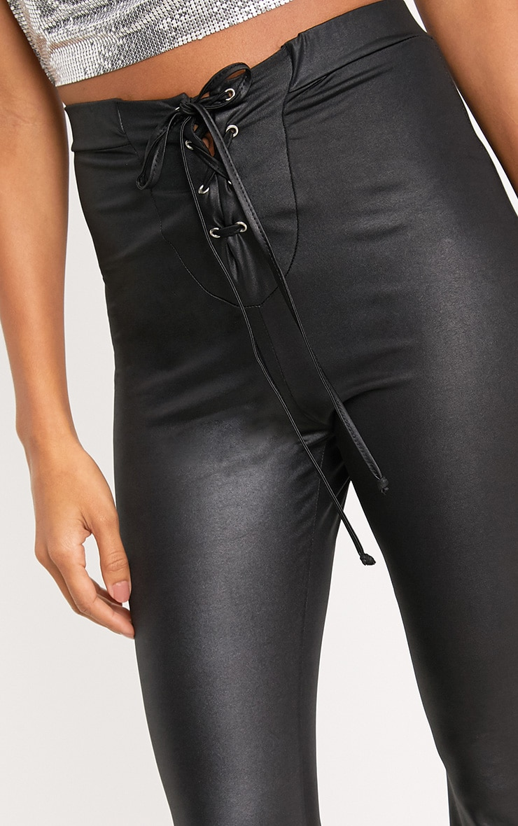 Black PU Lace Up Flared Trousers 5