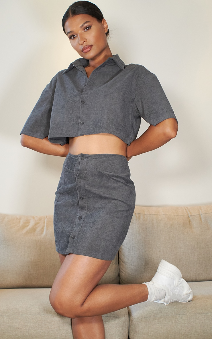 Charcoal Grey Cord Button Front Mini Skirt 5