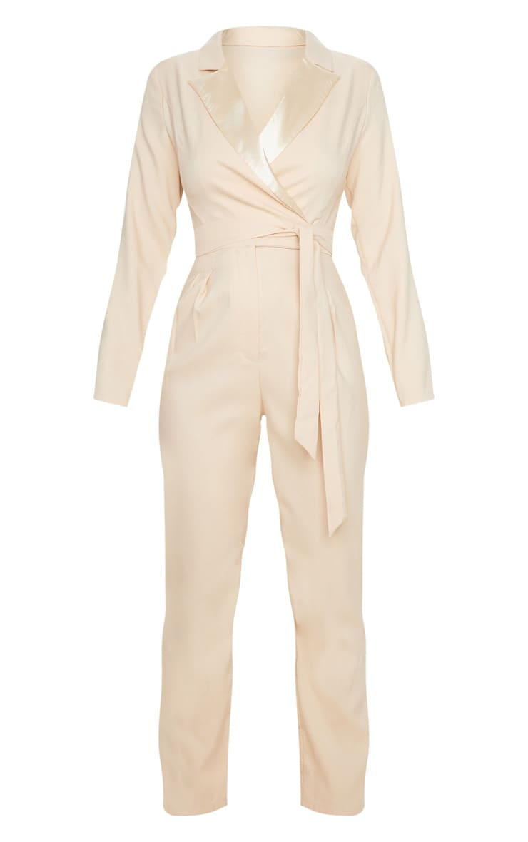 Nude Satin Lapel Tie Detail Jumpsuit 3