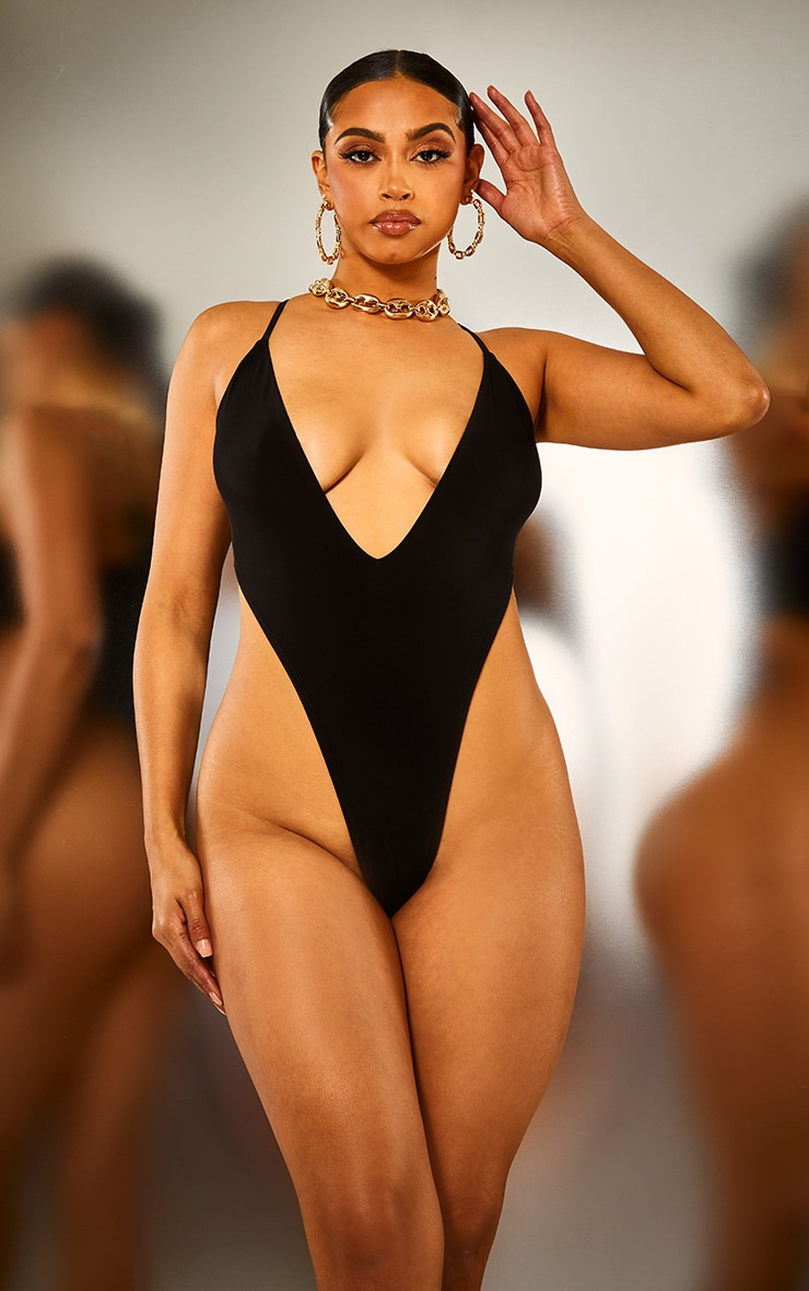 Black Plunge High Leg Bodysuit