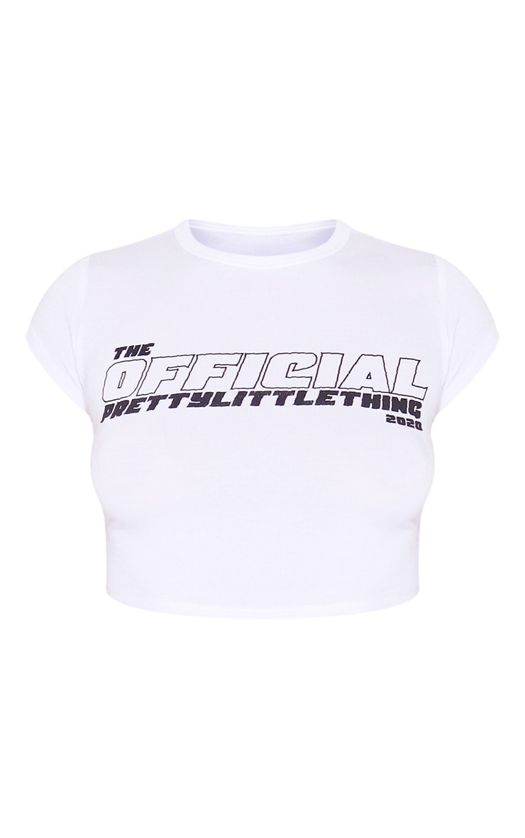 PRETTYLITTLETHING White The Official Crop Top 5