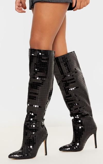 Black Disco Ball Knee High Boot
