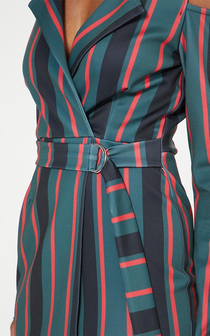 Emerald Green Cold Shoulder Long Sleeve Belt Detail Blazer Dress 5