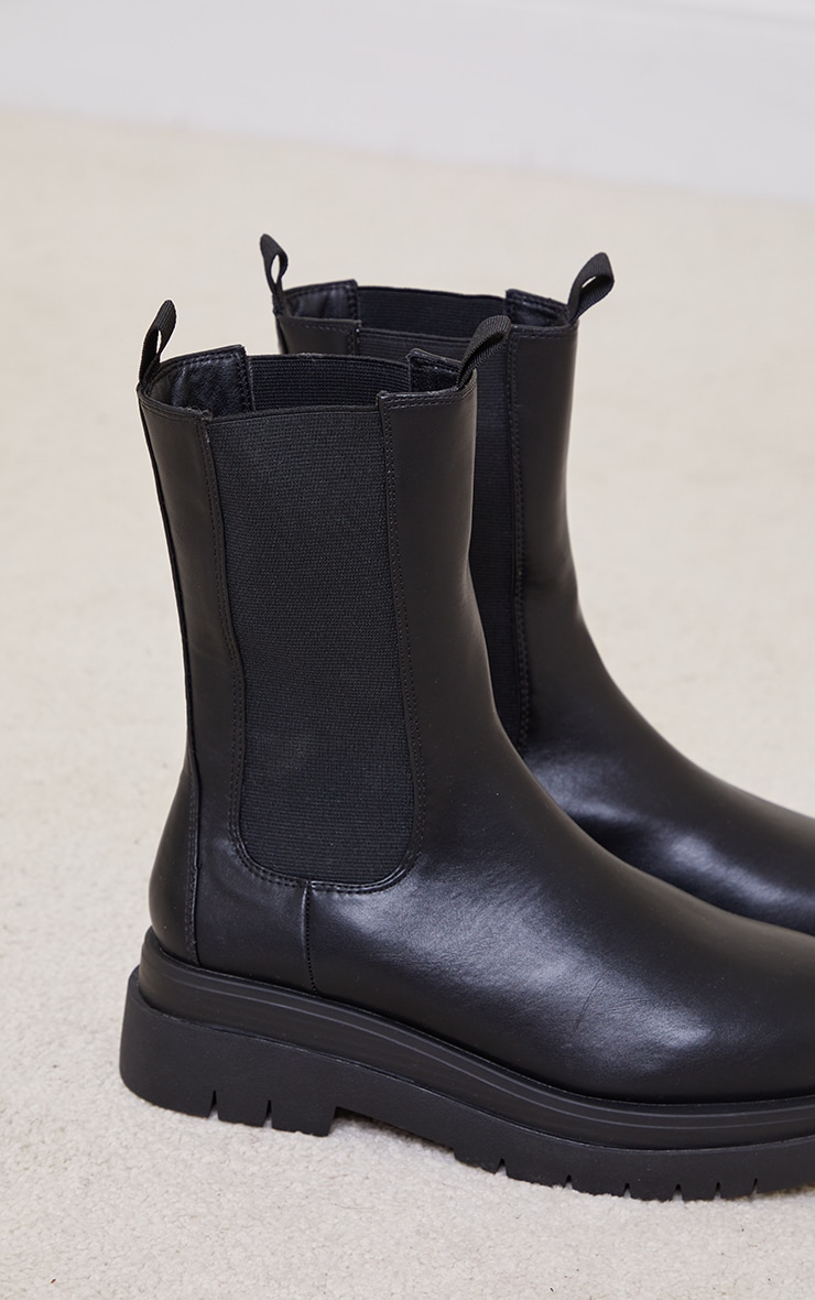 Black PU Calf Length Chelsea Chunky Boots 4