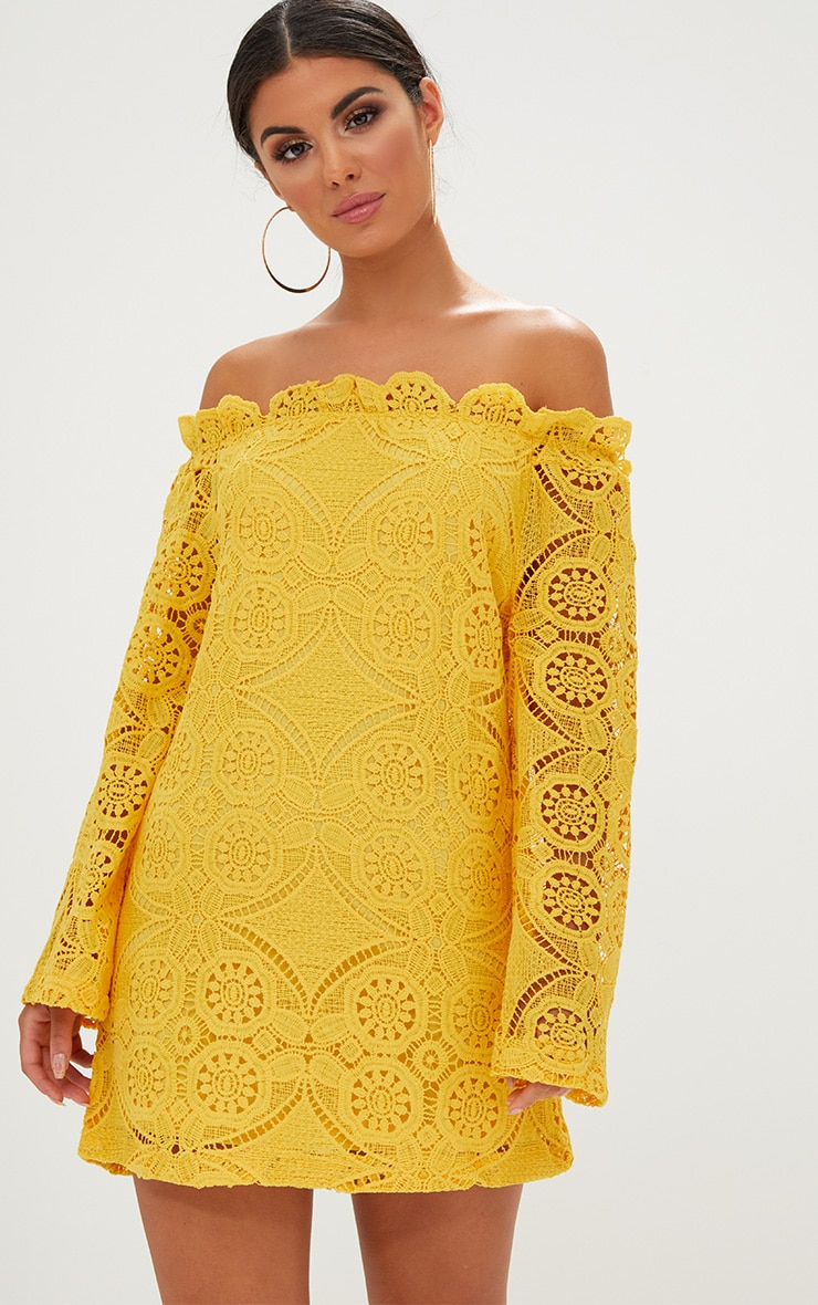 Yellow Bardot Lace Swing Dress 1