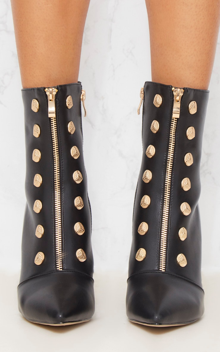 Black Gold Button Studded Ankle Boot 6