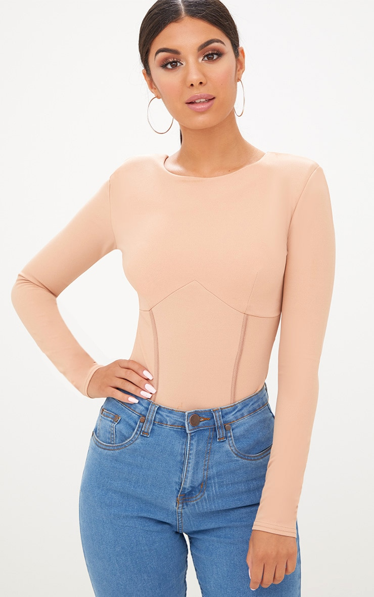 Nude Structured Longsleeve Under Bust Thong Bodysuit 2