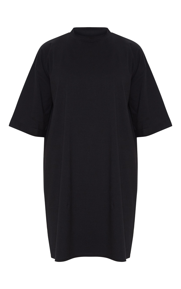 Black Oversized Boyfriend Sleeve T Shirt Dress 3