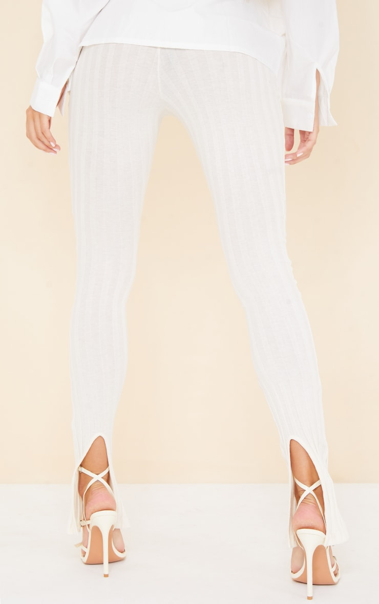 Cream Jumbo Cotton Rib Split Hem Leggings 3