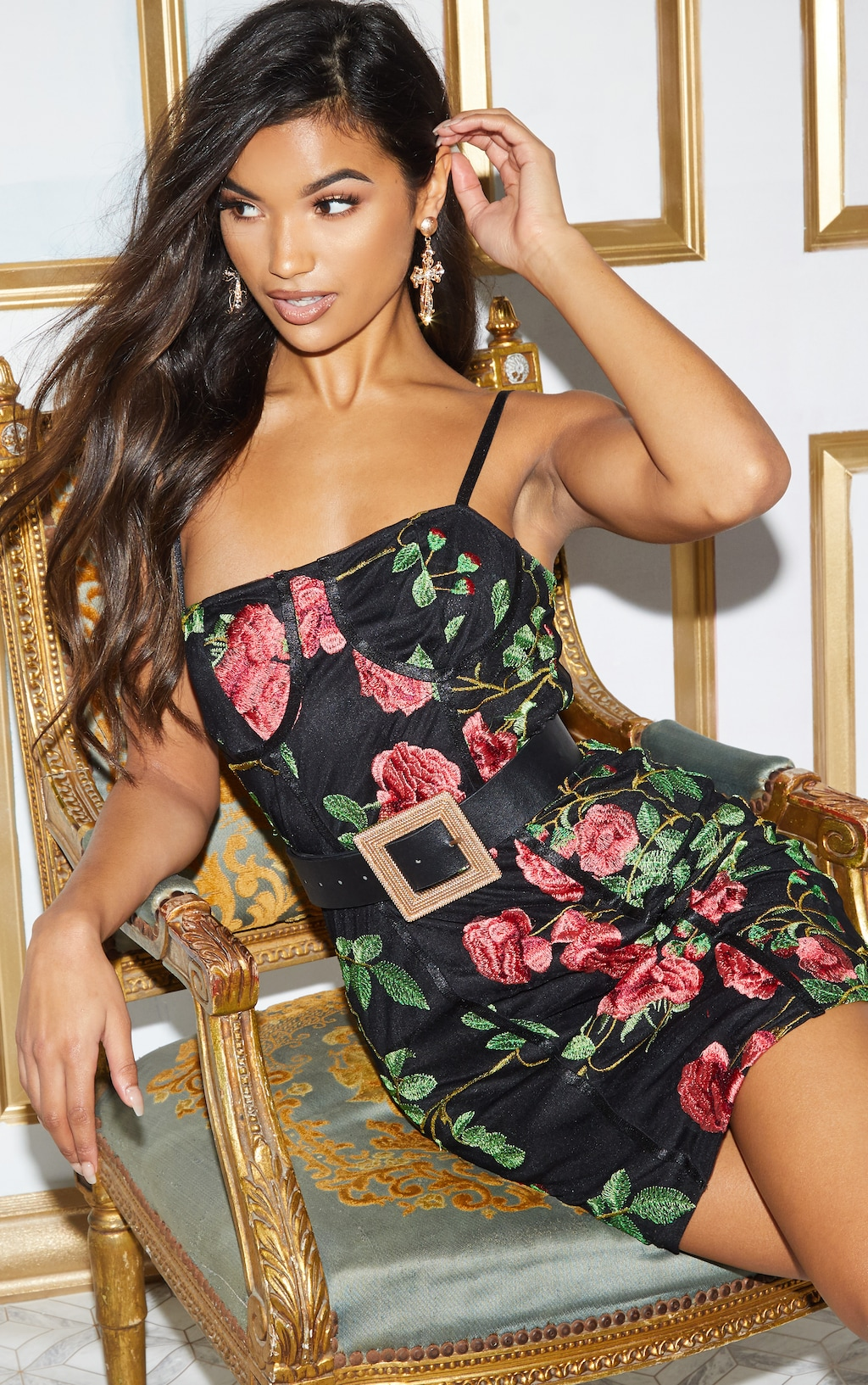 BLACK FLORAL EMBROIDERED CUP DETAIL BODYCON DRESS
