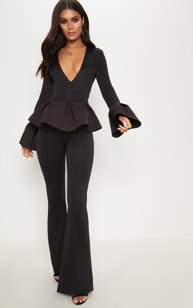 Black Frill Sleeve Peplum Jumpsuit 1