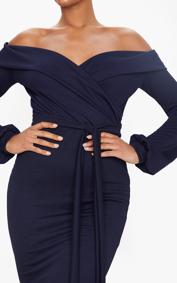 Navy Long Sleeve Wrap Bardot Midi Dress 4