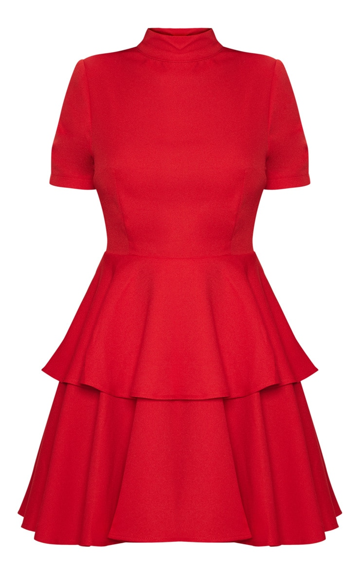 Red Cap Sleeve Tiered Skater Dress 3