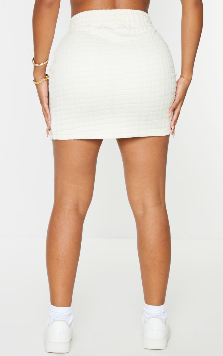 PRETTYLITTLETHING Shape Cream Quilted Drawstring Bodycon Skirt 3