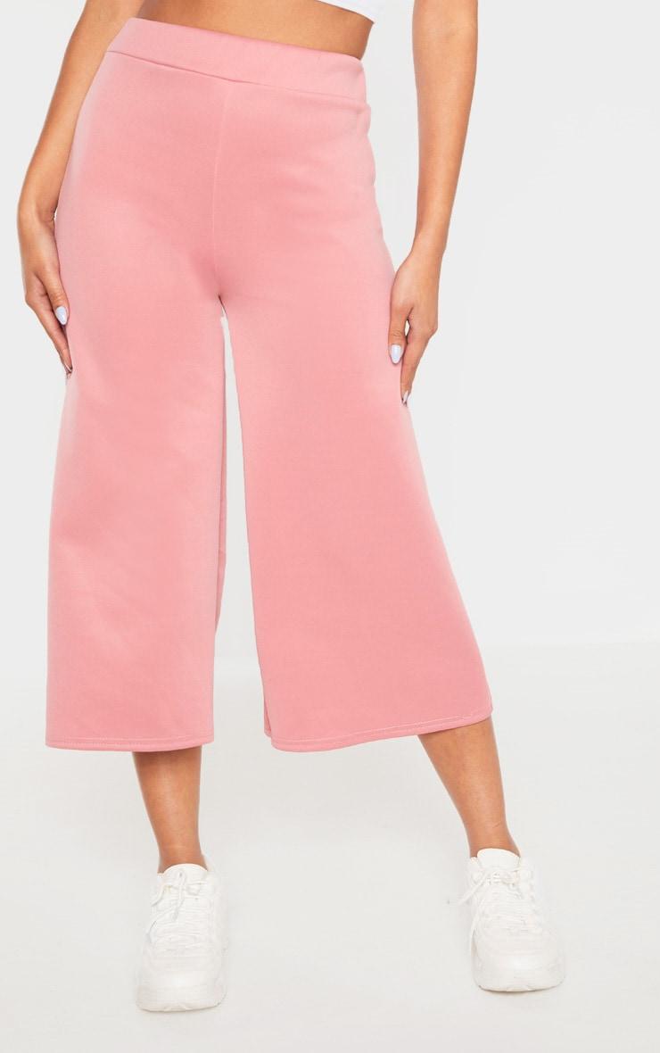 Rose Basic High Waisted Scuba Culottes 2