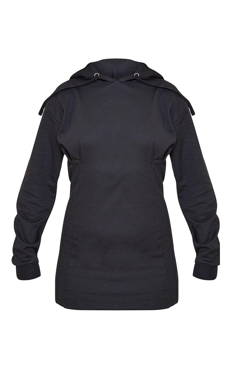 Black Pleated Hoodie Sweater Dress 5