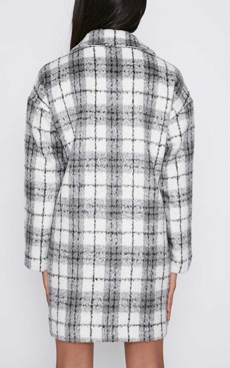 Ramsha Grey Checked Boyfriend Coat 2