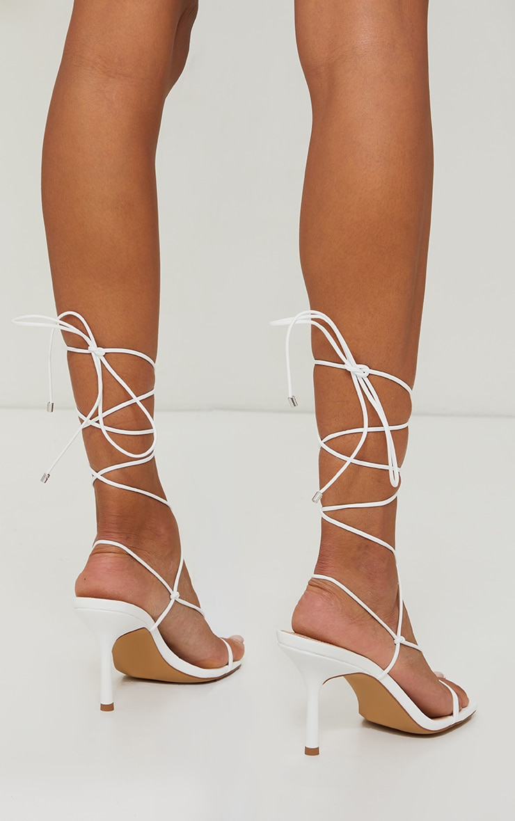 White Knot Detail Knee High Lace Up Heels 2