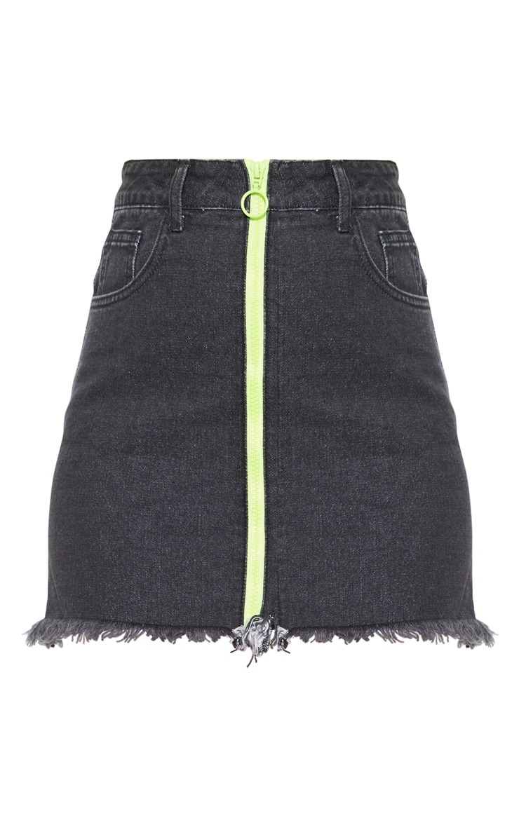 Washed Black Neon Zip Front Denim Skirt 3