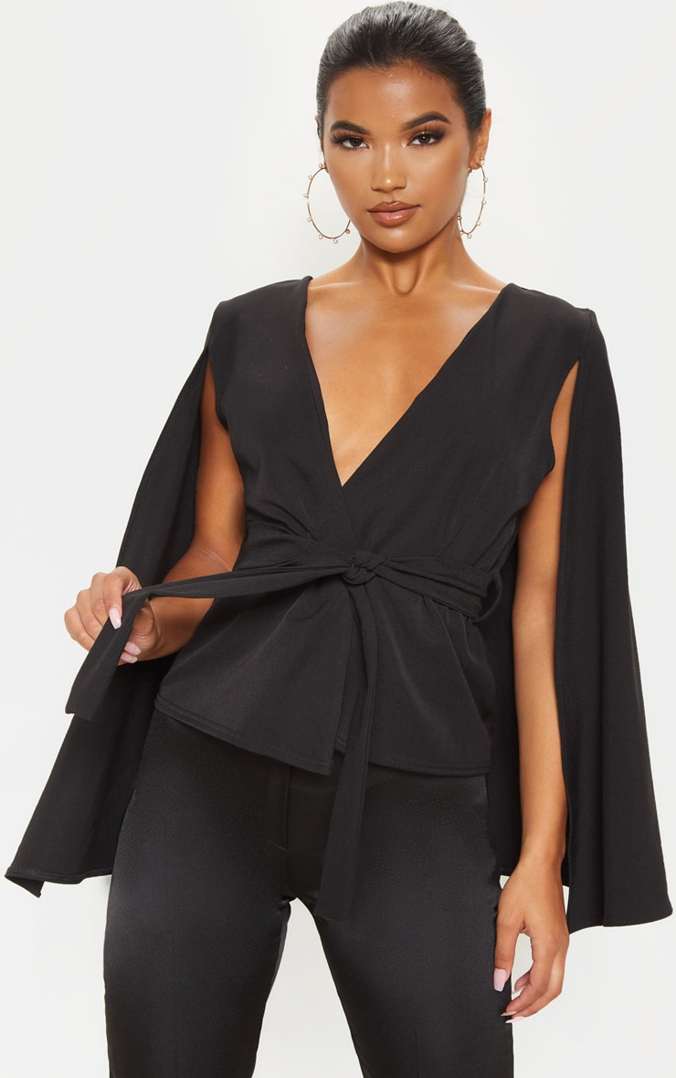 Black Crepe Belted Cape Blazer 1