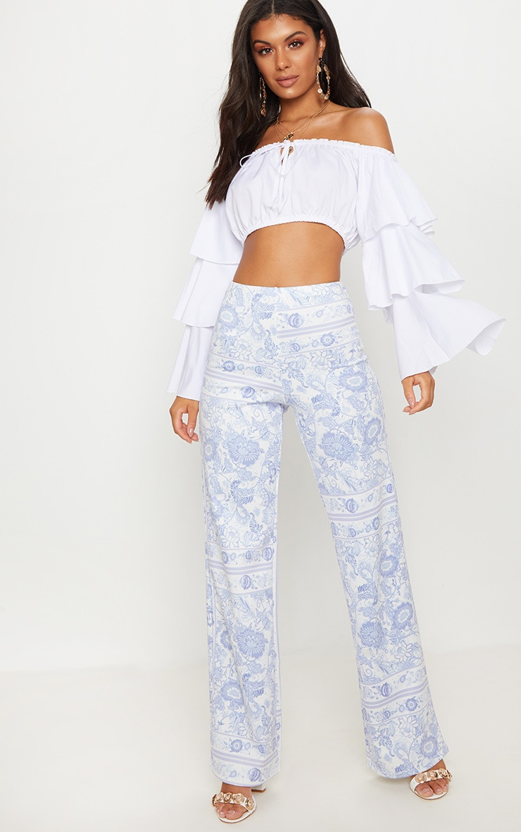 blue-printed-floral-wide-leg-trouser by prettylittlething