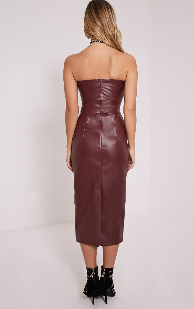 Adaline Burgundy Faux Leather Midi Dress 3