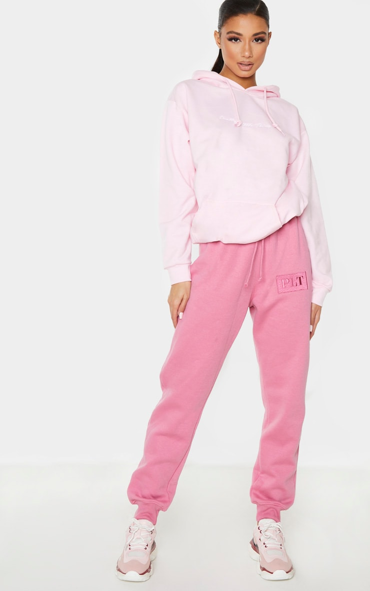 PRETTYLITTLETHING Pink Logo Joggers 1