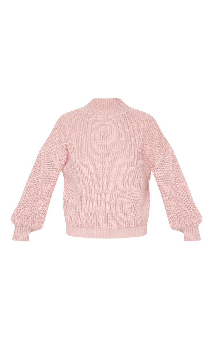 Dusty Pink Balloon Sleeve Fluffy Sweater 3