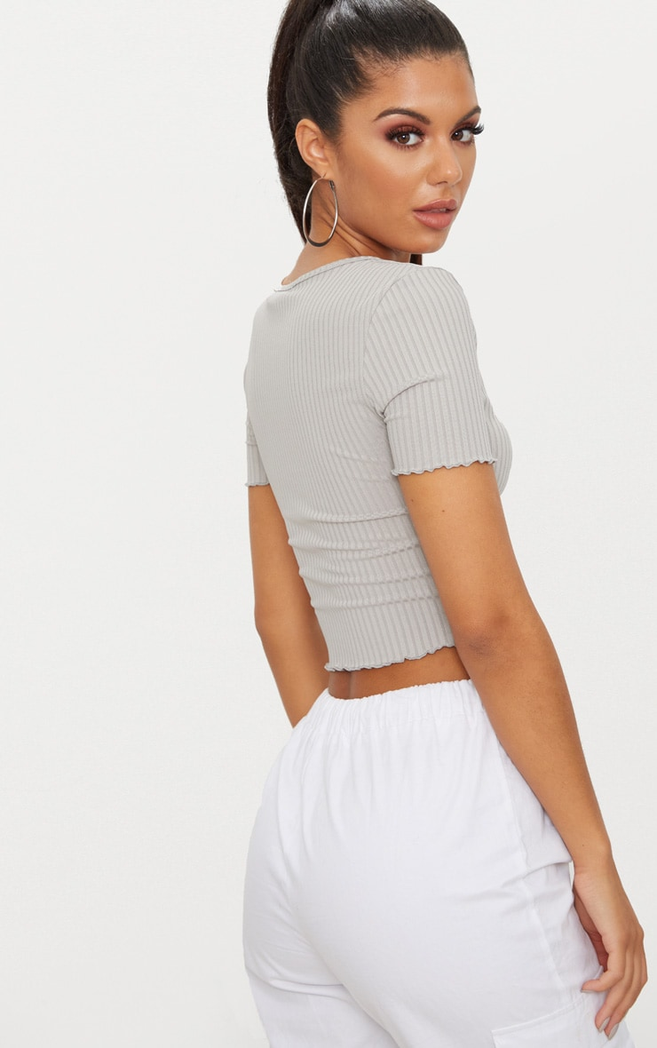 Grey Rib Frill Detail Crop T Shirt 2