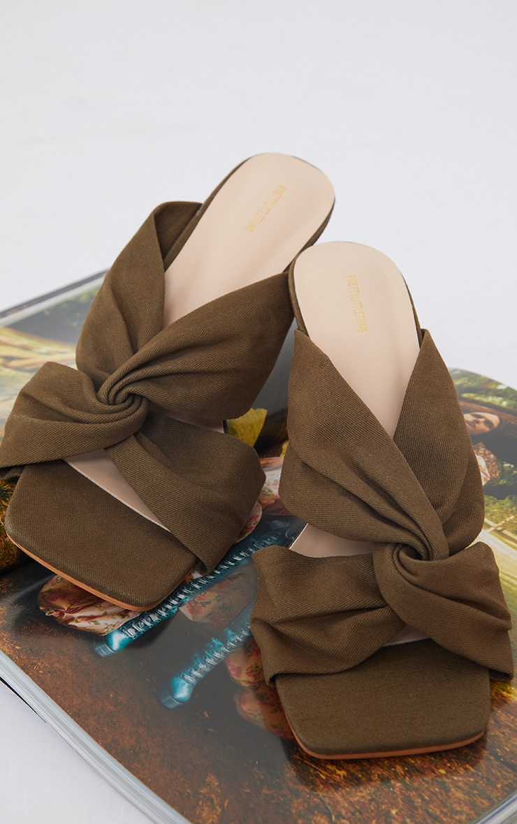 Pale Khaki Linen Twist Strap Mid Heel Mules 3