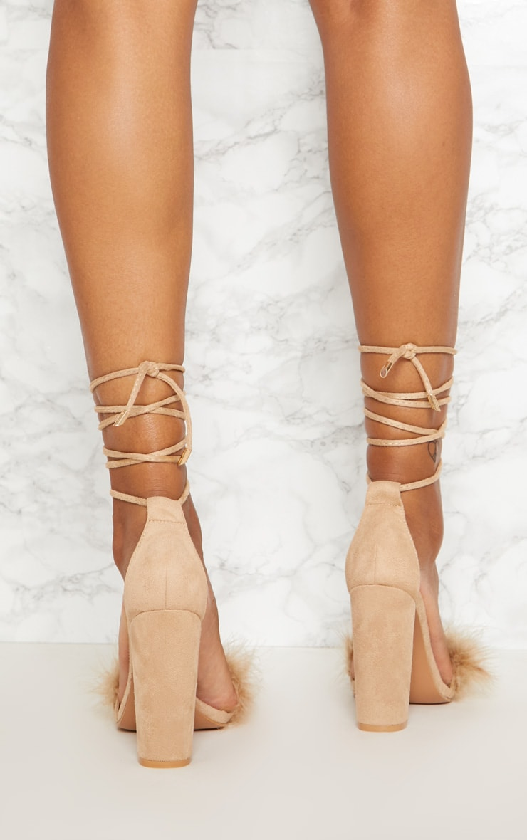 Nude Feather Strap Lace Up Block Heel 4