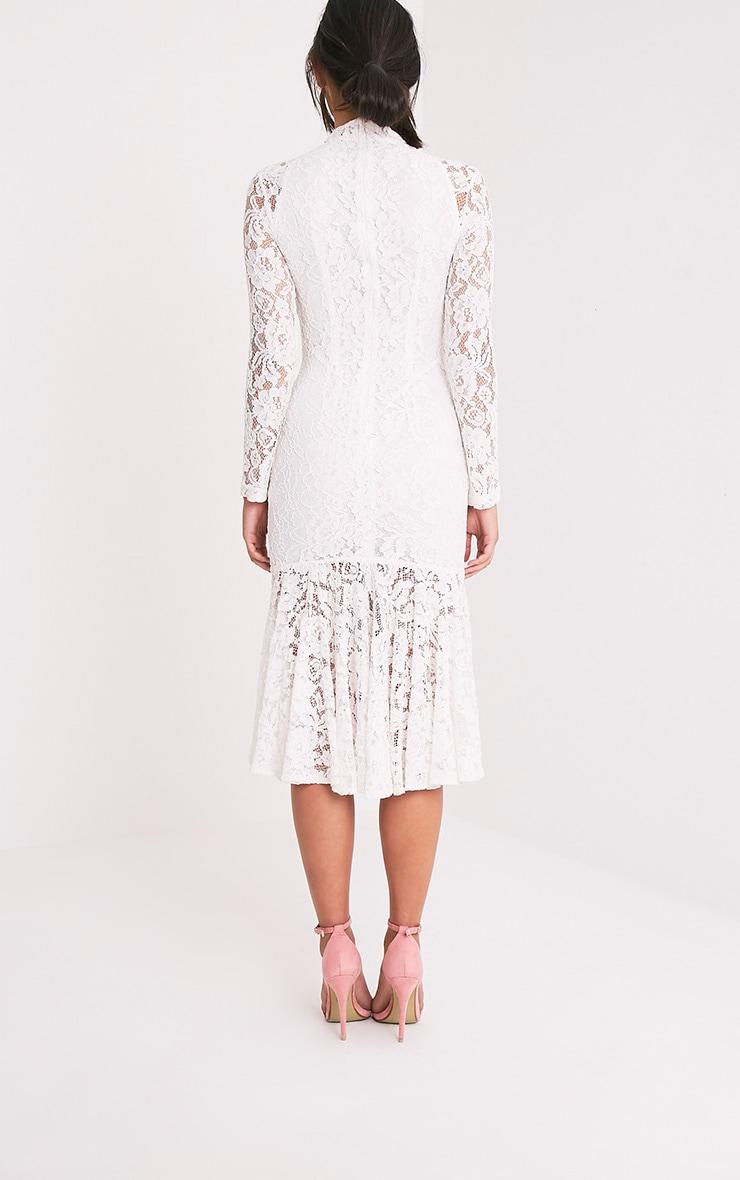Ellina Premium robe sirène midi en dentelle blanche 2
