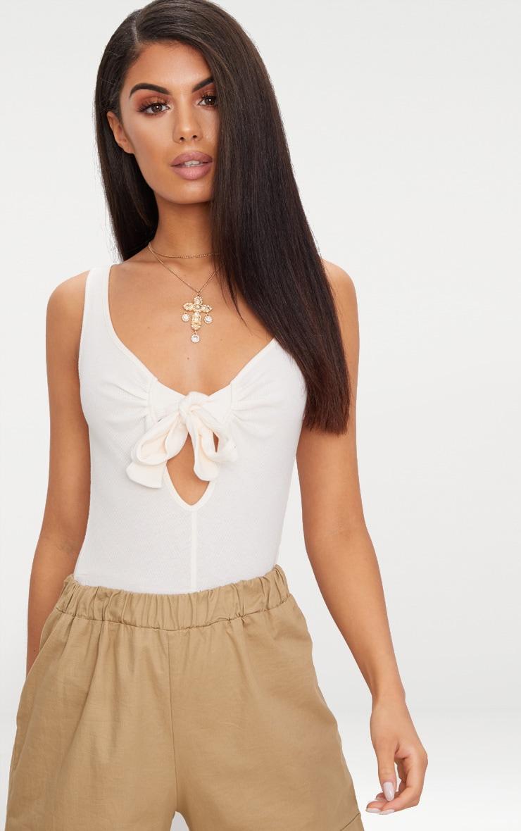 Cream Rib Bow Detail Thong Bodysuit  1