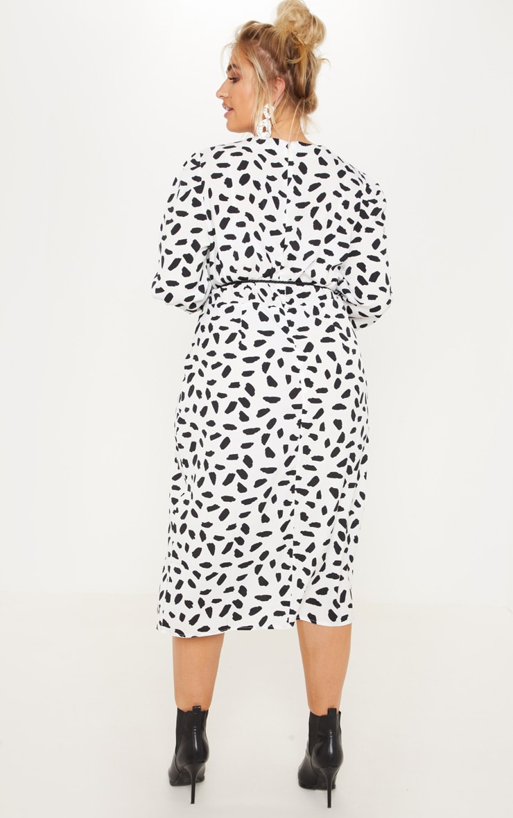 Plus White Tie Waist Dalmatian Print Midi Dress 2